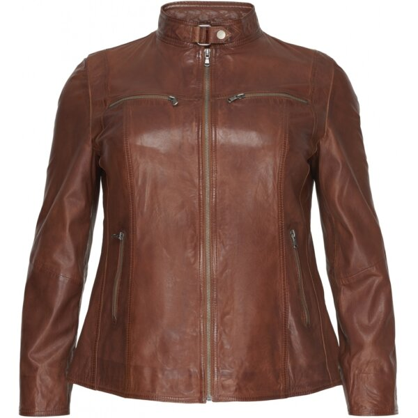 Blød lammeskinds jakke med lommer og lynlås fra No. 1 by Ox