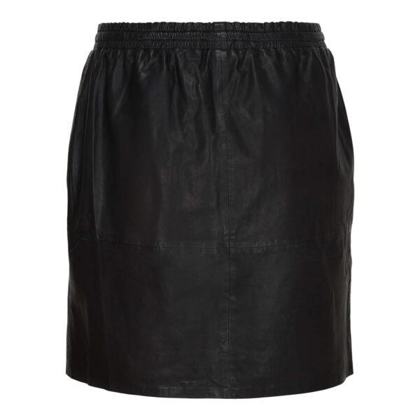 Læder nederdel med elastik i taljen fra No.1 By Ox
